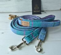 Turquoise Harris Tweed Dog Leash